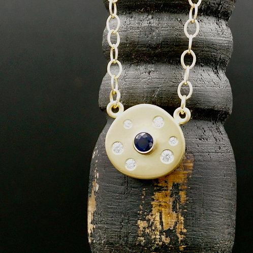 Sapphire, Diamond & 18k Gold Necklace