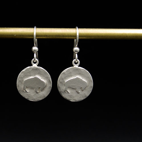 Colorado - Sterling Silver Hammered Buffalo Earrings