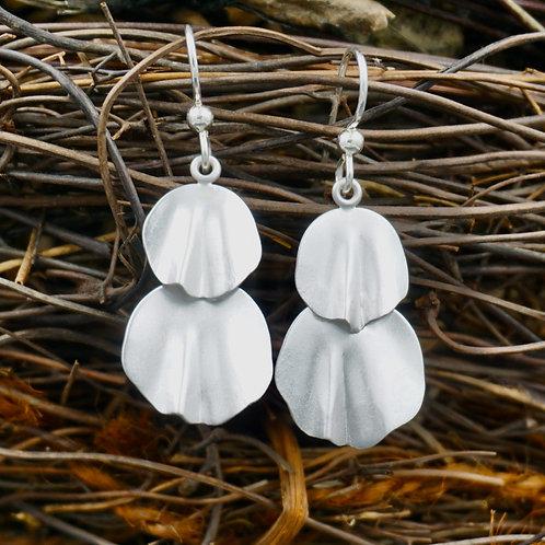 Fine Silver Petal Earrings - Double