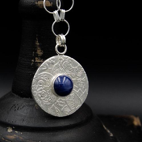 Sapphire Fiore Medallion w/12mm Cabochon & Circle Chain