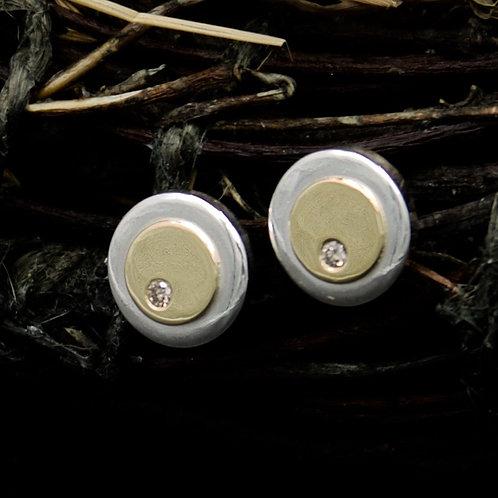 Diamond, 18k Gold & Silver Curvo Stud Earrings
