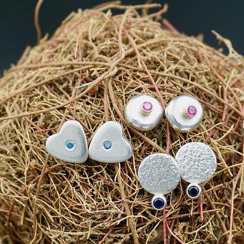 Stud Earrings - Pebble, Hearts & More