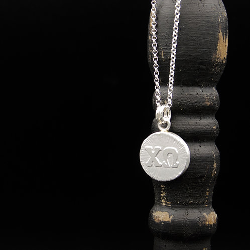 Chi Omega Coin Necklace - Sterling Silver