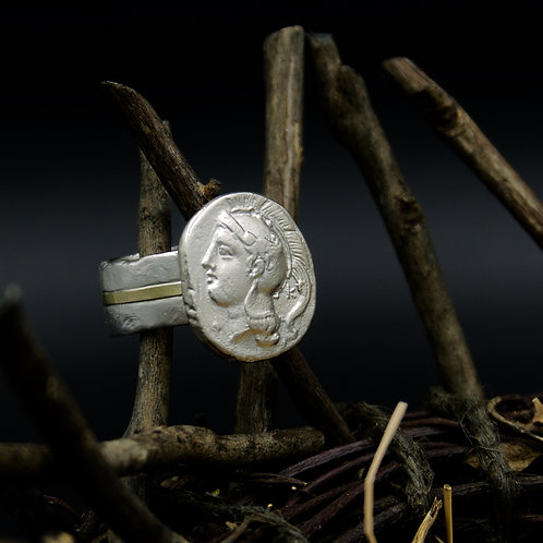 Athena Ring - Ancient Greek Coin Replica - Sterling & 18k Gold
