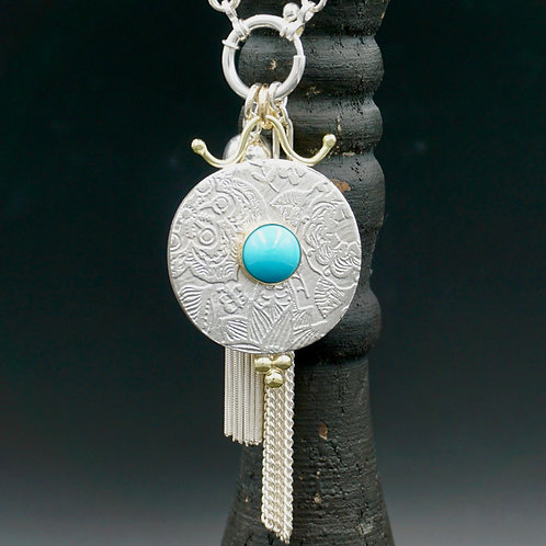 Fiore Tassel Necklace - Turquoise - Wear short or long