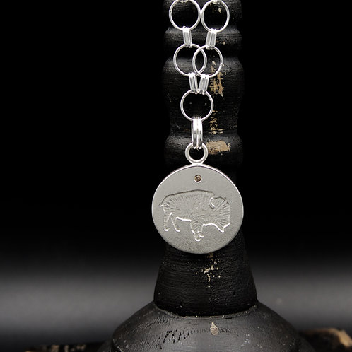Colorado - Buffalo Coin Necklace w/Champagne Diamond