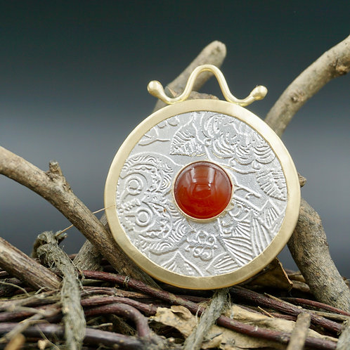 18k Gold Wrapped Fiore Necklace - Carnelian