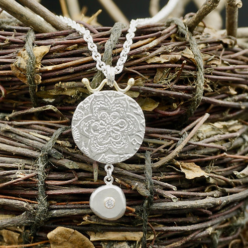 Fiore Medallion with Pebble Dangle