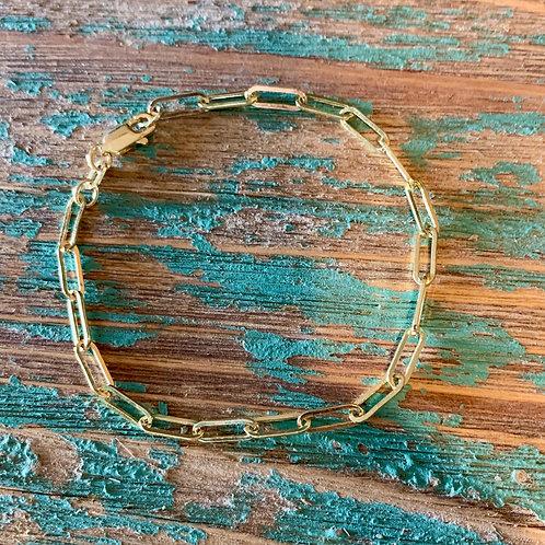 14k Gold Paperclip Chain Bracelet
