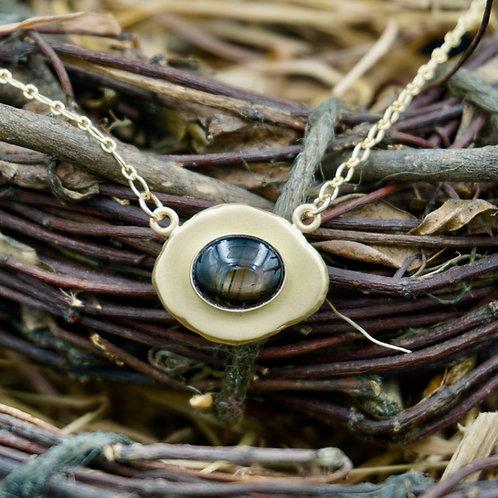 18k Gold & Black Sapphire Necklace