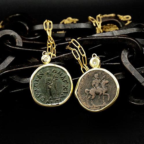 Ancient Roman Coin Necklaces w/18k Gold & Diamond - Originals