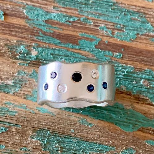 Sapphire & Diamond Wave Ring