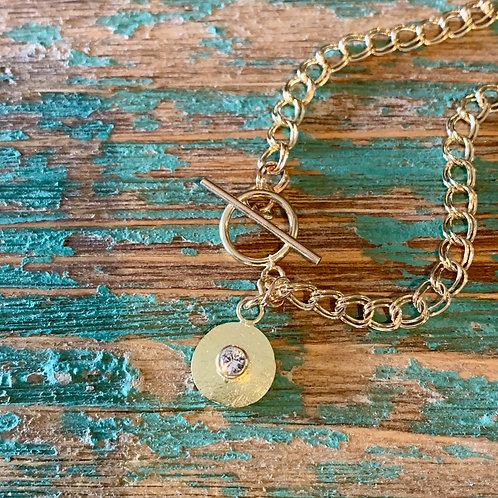 14k Gold Double Link Charm Bracelet