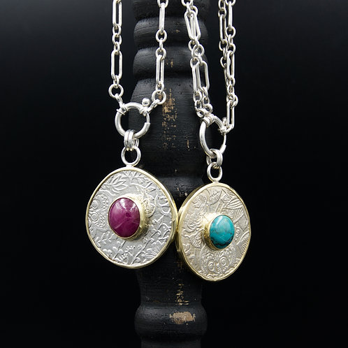 Fiore Medallion Necklaces w/18k Gold & Cabochons
