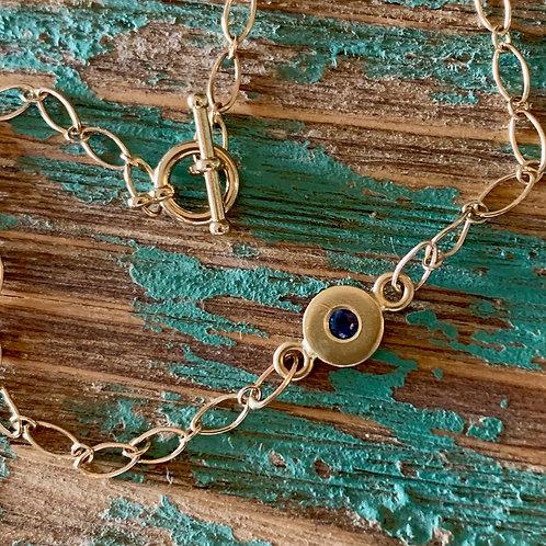 14k Gold Sapphire Charm Bracelet
