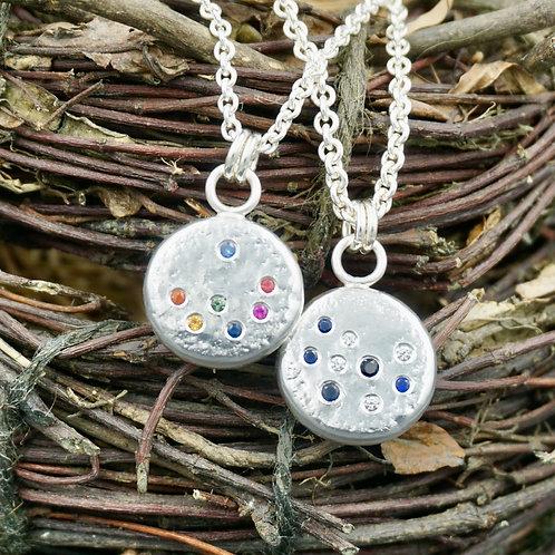 Circle Sampietrini Necklaces w/Diamonds & Sapphires