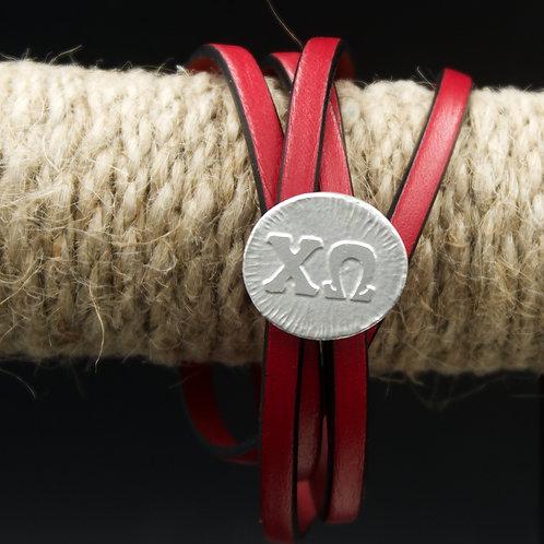 Chi Omega Leather Wrap Bracelet