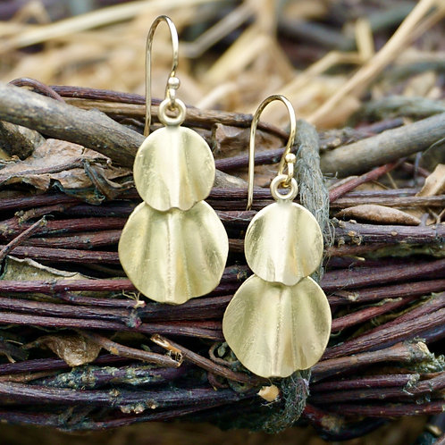 18K Gold Petal Earrings - Double