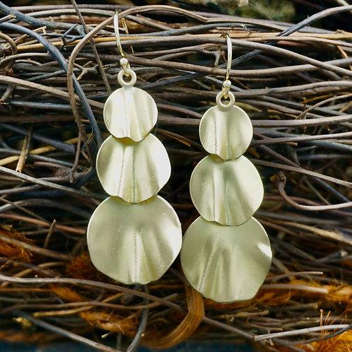 18K Gold Petal Earrings - Triple