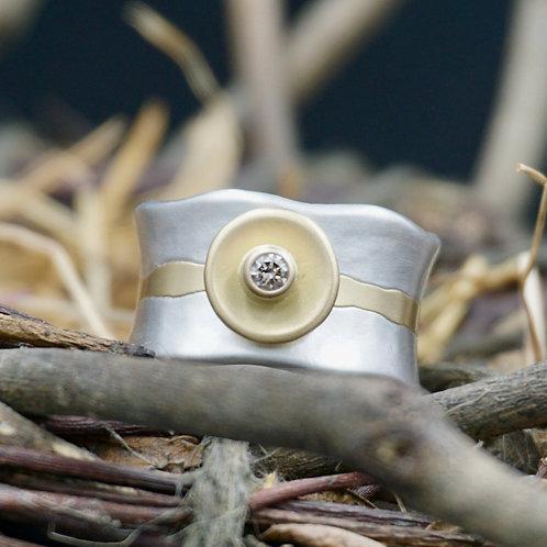 Champagne Diamond w/18k Gold Band Ring