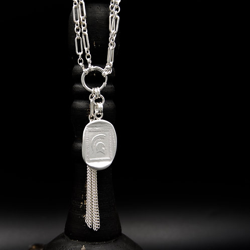 Michigan State - Tassel Necklace - Rectangle
