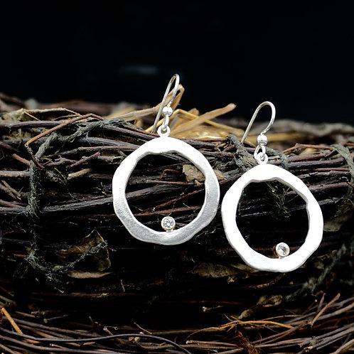 Organic Circle Earrings w/Sapphires