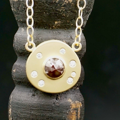 Amber Diamond & 18k Gold Necklace