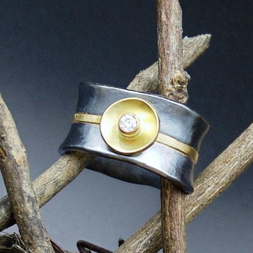Fine Silver, 18k Gold & Diamond Flare Ring