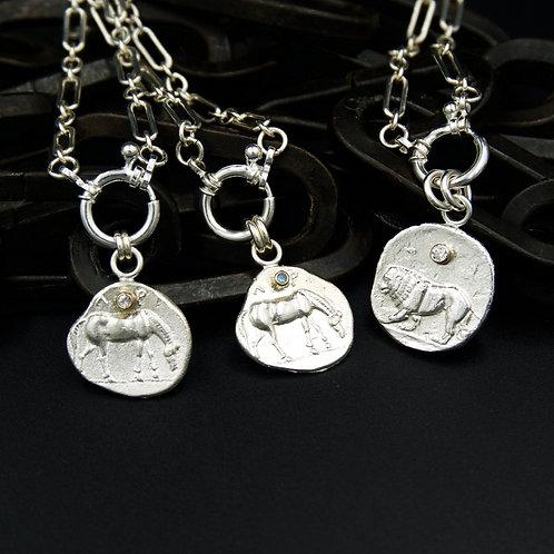 Ancient Greek Lion & Horse Coin Necklaces - Replicas