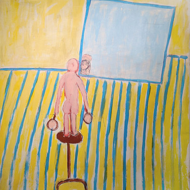 James Juthstrom (1925-2007) Untitled (Yellow Interior II) acrylic on canvas circa mid-1990s 70 x 58 inches
