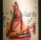 Andy Warhol  Sitting Bull, circa 1980s  unique screenprint on newsprint on linen,  authenticated by Andy Warhol Art Authentication Board  46 x 36 inches