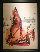 Framed screenprint in red, orange, and black on newsprint of Sitting Bull by Andy Warhol