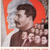 GUSTAV KLUTSIS Under Lenin's Banner for Socialist Construction, 1931  Lithograph on paper, 11.5 x 7.5 inches