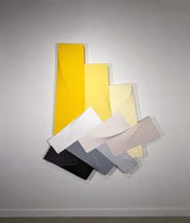 Tridimensional, bas relief vertical painting, yellow, light yellow, beige, grays, black modules