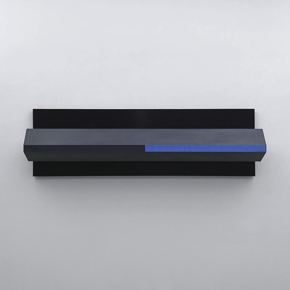 ALAN STEELE Modern Equipment ACT, Marityx Mereremex, 2019 marine enamel, acrylic, slate paint and ink on wood, laminate, and anodized aluminum. Artwork: 22 x 73.75 x 12 inches | 55.9 x 187.3 x 30.5 cm  Unique