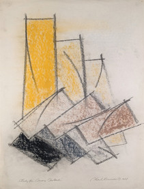 Charcoal, oilstick drawing of tridimensional, vertical structure, yellow, beige, grays, black modules