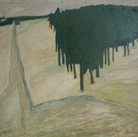 James Juthstrom (1925-2007)  Untitled (Trees), circa 1950s  oil on masonite, 51 x 69 inches
