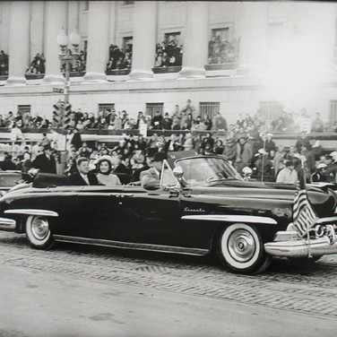 Jacques Lowe (1930-2001)  The presidential motorcade, Washington DC  photo January 20 1961 [printed later]  gelatin silver print, AP, signed  paper size > 16 x 20 inches