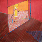 James Juthstrom [1925-2007] Untitled [Balancing Act], circa 1980s acrylic on canvas 67.5 x 70 inches