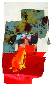 Boris Lurie (1924-2008) Untitled (Deliberate Pinup), c.1975  collage: oil paint and paper on cardboard