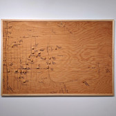 ROGER WELCH Ruth Elliott Memory Map, 1973 ink and wood blocks mounted on wood with photographs and photostat text 48 x 168 inches, diptych  Detail of second panel