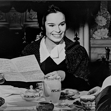 """Photograph by Hatami (1928-2017) Geraldine Chaplin and Ralph Richardson practicing a scene, on the set of """"Doctor Zhivago"""" photograph 1965  vintage gelatin silver print, signed, stamped 9 x 6 inches"""