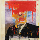 Boris Lurie (1924-2008) Altered Photo (Cabot Lodge), 1963 paint on paper mounted on canvas 29.5 x 24 inches
