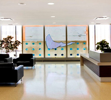 WARREN CARTHER  Untitled  Blue Cross Headquarters, Winnipeg, Canada  Carved glass wall  Height 9 ft. Length 15 ft.