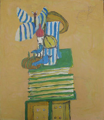 Acrylic on board painting of still life, books, flowers on a chair, on ochre background