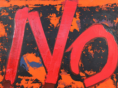 Boris Lurie (1924-2008) Feeling Painting NO with Red and Black, 1963  paint on plastic mounted on canvas  22 x 35 inches