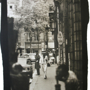 Douglas Kirkland  Mlle Chanel walking from the Ritz to the House of Chanel, rue Cambon  photograph 1962 [printed later]  platinum / palladium print, edition of 12, signed and numbered  paper size > 20 x 16 inches