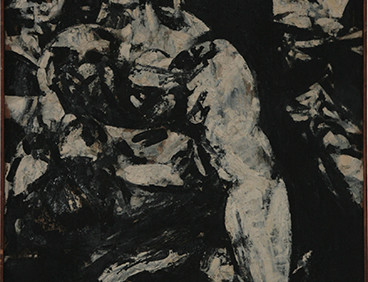 Boris Lurie (1924-2008) Untitled (Three Women), 1957  oil paint on unprimed canvas  41 x 25 inches
