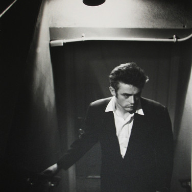 Roy Schatt [1909-2002]  James Dean with Exit Sign [ABC studios], New York City  photo 1954 [printed later]  gelatin silver print, edition of 65, signed  paper size > 20 x 16 inches  photo Roy Schatt CMG