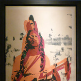 Andy Warhol  Sitting Bull, circa 1980-85  screenprint on newsprint on linen, unique  unframed size > 48.5 x 37 inches  stamped with the artist's copyright stamp bottom right. Authenticated by Andy Warhol Art Authentication Board